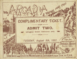 Ticket for an exhibition at the Agricultural Hall